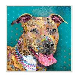 Pit Bull Abstract Collage Wall Art Plaque