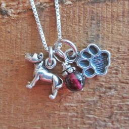 Pit Bull Mini Paw Print Sterling Silver Necklace