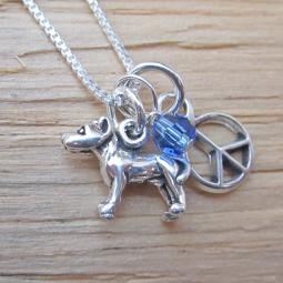 Pit Bull Mini Peace Sterling Silver Necklace