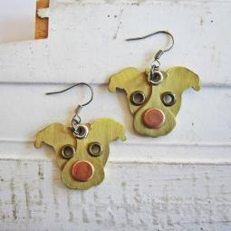 Pit Bull Red Nose Metal Rivet  Earrings