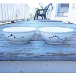 "Set of Two Pit Bull Handpainted 6"" Bowl"