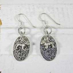 Pit Bull Antique Silver Etched Dangle Earrings