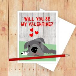 Happy Valentine's Day Pit Bull Note Card