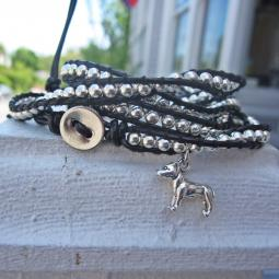 Pit Bull Silver or Turquoise Wrap Bracelet