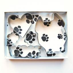 Pit Bull Cropped Ear Woof Five Piece Cookie Cutter Set