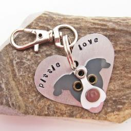 Pittie Love Metal Rivet Tag/Keychain