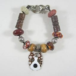 Cropped Pittie Pattern Bronze Silver & Glass Bracelet (one of a
