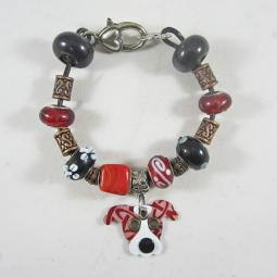 "Pittie Pattern Red 7.5"" Silver & Glass Bracelet (one of a kind)"