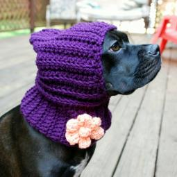 Plum Crochet Snood with Peach Flower