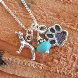 Pointer Mini Paw Print Sterling Silver Necklace