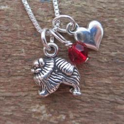 Pomeranian Mini Heart Sterling Silver Necklace