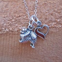 Pomeranian In My Heart Mini Sterling Silver Necklace