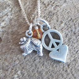 Pomeranian Mini Peace Love Sterling Silver Necklace