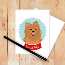 Pomeranian Warmest Wishes Christmas Card