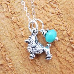 Poodle Glass Bead  Sterling Silver Necklace