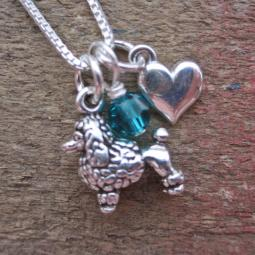 Poodle Mini Heart Sterling Silver Necklace