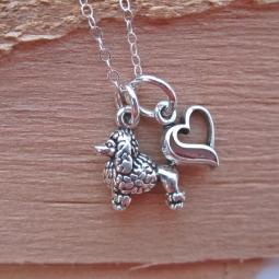Poodle In My Heart Mini Sterling Silver Necklace