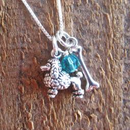 Poodle Dog Bone Mini Sterling Silver Necklace