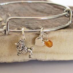 "Poodle Mini Heart Stackable Bangle Bracelet (2.5""-3"")"