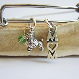 "Poodle Mom Stackable Bangle Bracelet (2.5""-3"")"