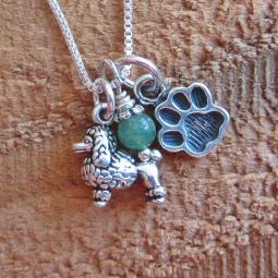 Poodle Mini Paw Print Sterling Silver Necklace