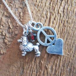 Poodle Mini Peace Love Sterling Silver Necklace