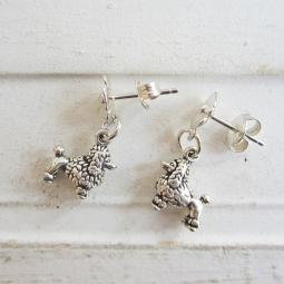 Poodle Poppy Sterling Silver Earrings