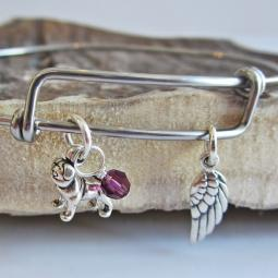 Pug Mini Angel Wing Stackable Bangle Bracelet