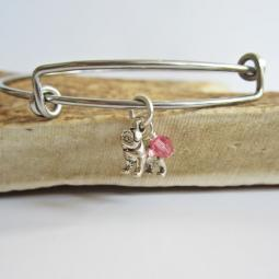 "Pug Mini Dangle Stackable Bangle Bracelet (2.5""-3"")"