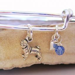 "Pug Mini Heart Stackable Bangle Bracelet (2.5""-3"")"