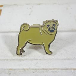 Yellow Enamel Pug Lapel Pin