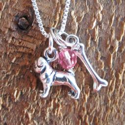 Pug Dog Bone Mini Sterling Silver Necklace
