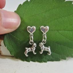 Pug Mini Heart Sterling Silver Earrings