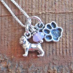 Pug Mini Paw Print Sterling Silver Necklace
