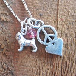 Pug Mini Peace Love Sterling Silver Necklace