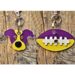 Purple and Yellow Pit Bull or Football Metal Rivet Keychains