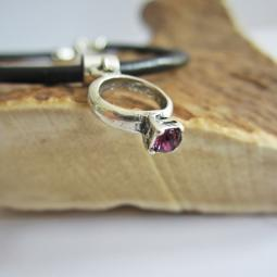 Purple Birthstone Ring European-Style Charm and Bracelet
