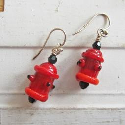 Fire Hydrant Red Glass Earrings - ONLY 1 LEFT