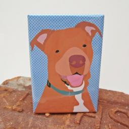 Pit Bull Red Nose Art Magnet