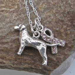 Labrador Breast Cancer Awareness Ribbon Sterling Silver Necklac