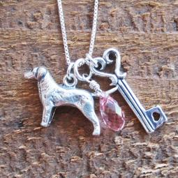 Labrador Large Key To My Heart Sterling Silver Necklace