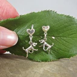 Retriever Mini Heart Sterling Silver Earrings