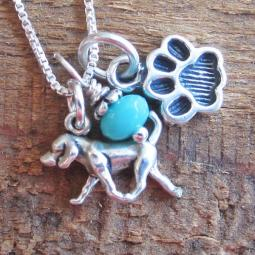 Retriever Mini Paw Print Sterling Silver Necklace