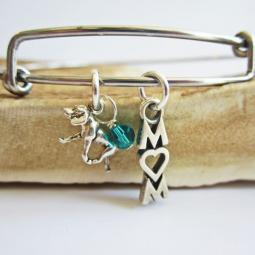 "Retriever Mom Stackable Bangle Bracelet (2.5""-3"")"