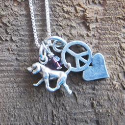 Retriever Mini Peace Love Sterling Silver Necklace