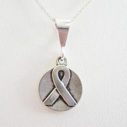 Circle Double-Sided Ribbon Pendant Charm and Necklace