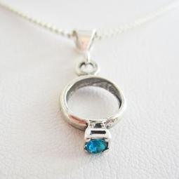 Aqua Birthstone Ring Pendant Charm & Necklace