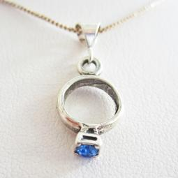 Blue Birthstone Ring Pendant Charm and Necklace