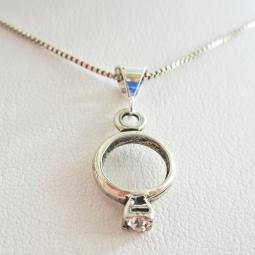 Clear Birthstone Ring Pendant Charm and Necklace