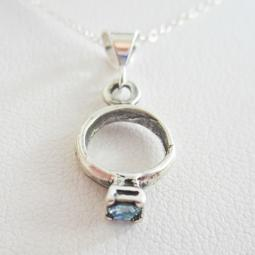 Light Blue Birthstone Ring Pendant Charm and Necklace